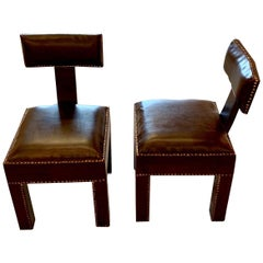 Brown Leather T-Shaped Back Pair of Side Chairs, Morocco, Contemporary