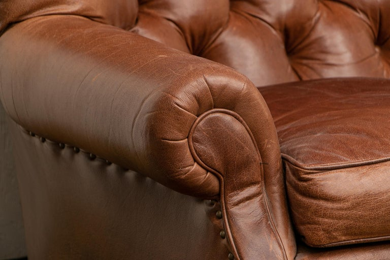 Brown Leather Three-Seat Sofa For Sale 6