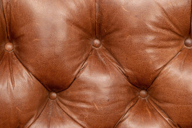 Chesterfield Brown Leather Three-Seat Sofa For Sale