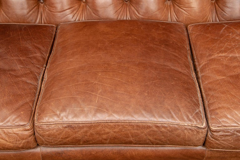 Brown Leather Three-Seat Sofa In Good Condition For Sale In Bridgeport, CT