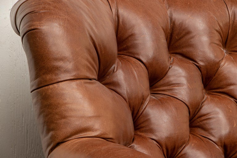 20th Century Brown Leather Three-Seat Sofa For Sale