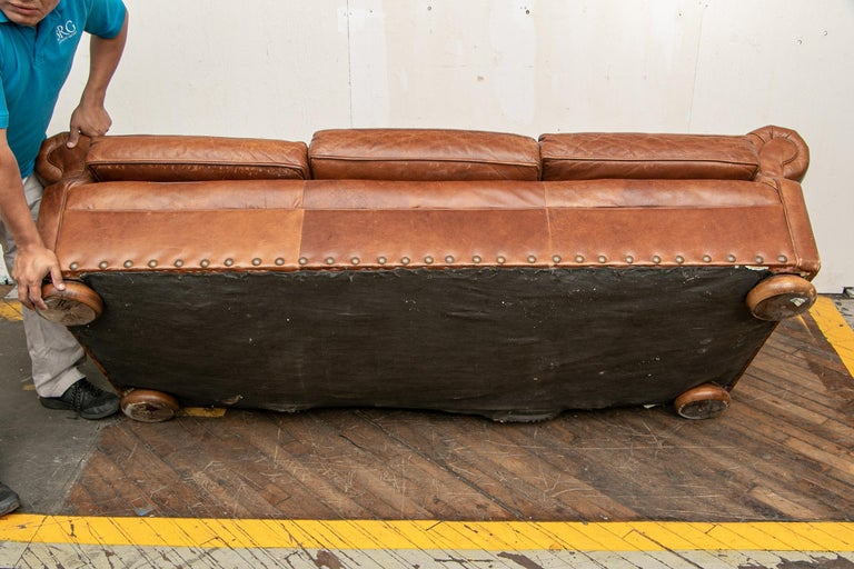 Brown Leather Three-Seat Sofa For Sale 2