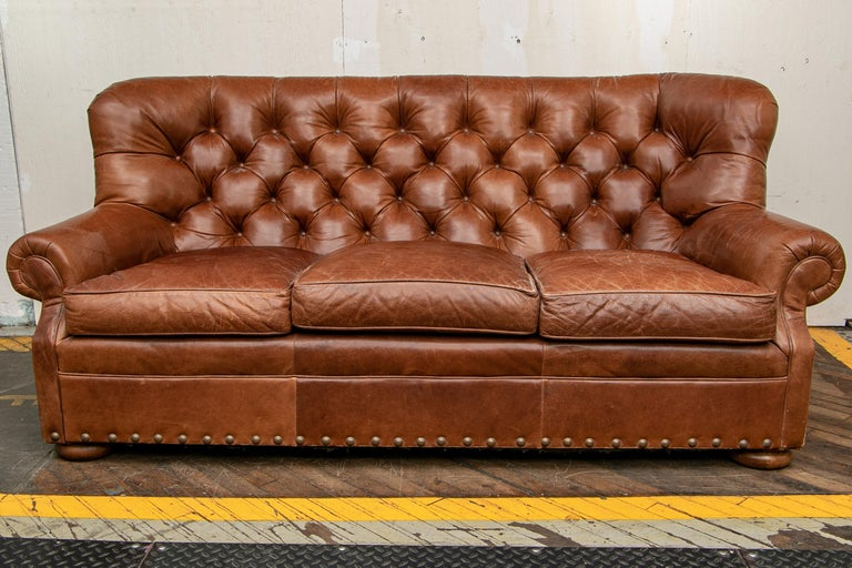 Brown Leather Three-Seat Sofa For Sale 3