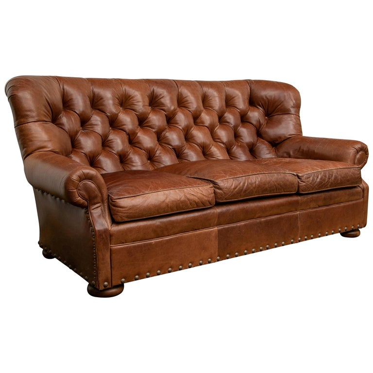 Brown Leather Three-Seat Sofa For Sale
