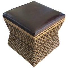Brown Leather Top Foot Stool, England, 19th Century