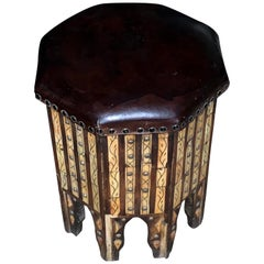 Brown Leather Top, Octagonal Shaped Decorative Design Stool, Morocco, Midcentury