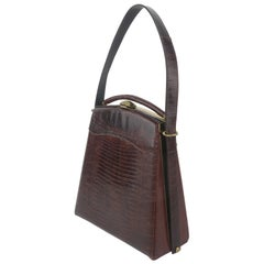 Brown Lizard Skin Top Handle Handbag With Unique Silhouette, 1950's