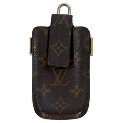 Brown Louis Vuitton Logo-Embossed Phone Case