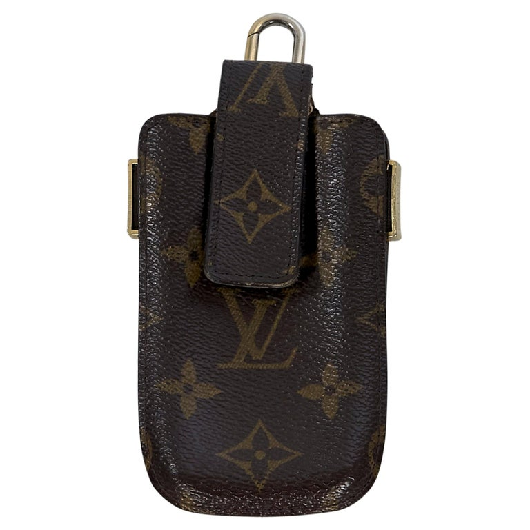 Brown Louis Vuitton Logo-Embossed Phone Case For Sale at 1stdibs