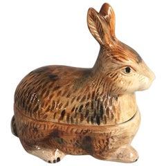 Brown Majolica Rabbit Tureen Caugant