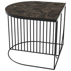 Brown Marble and Black Steel Contemporary Side Table