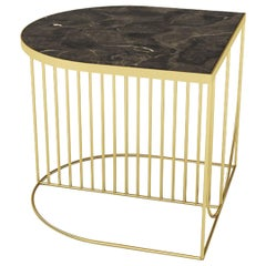 Brown Marble and Gold Steel Contemporary Side Table