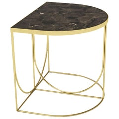 Brown Marble and Gold Steel Minimalist Side Table