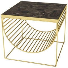 Brown Marble and Gold Steel Side Table
