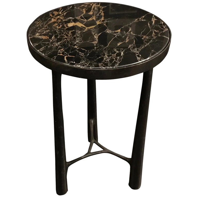 Black Marble-Top, Bronze Base Side Table, Germany, Contemporary For Sale