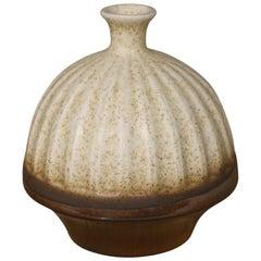 Brown Metallic Glaze and Cream Rib Texture Vase, China, Contemporary