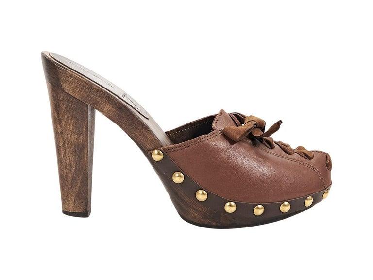 Women's Brown Miu Miu Leather Mules For Sale