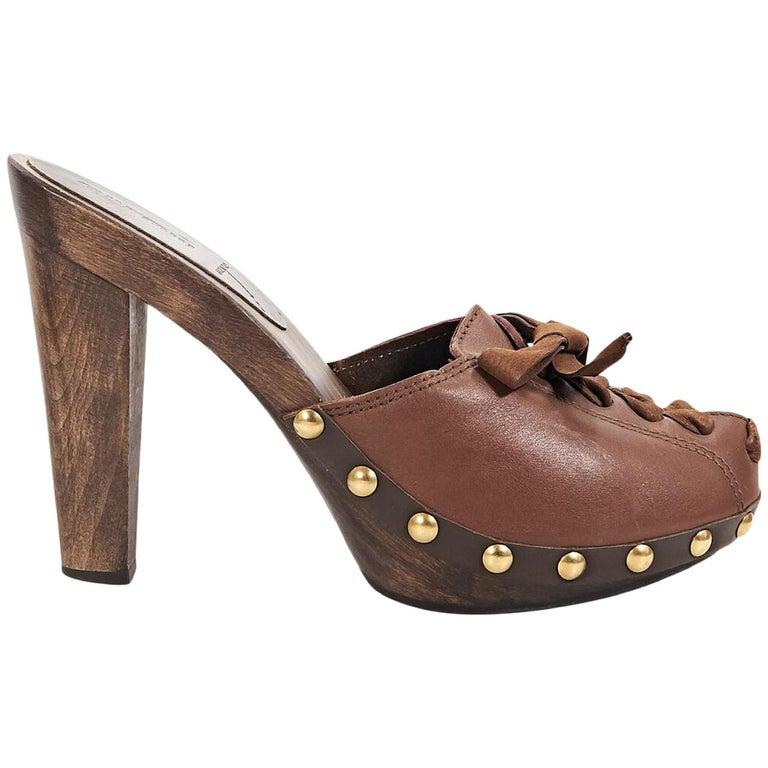 Brown Miu Miu Leather Mules For Sale