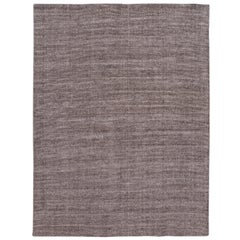 Brown Modern Bamboo or Silk Boho Handmade Rug