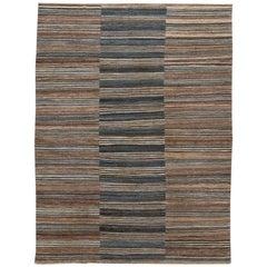 Brown Modern Flat-Weave Handmade Wool Rug