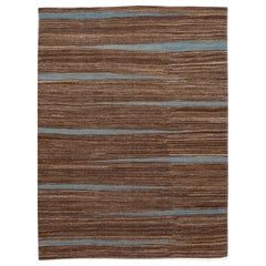 Brown Modern Flat-Weave Room Size Wool Rug