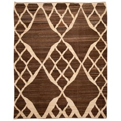 Brown Modern Geometric Kilim Wool Rug