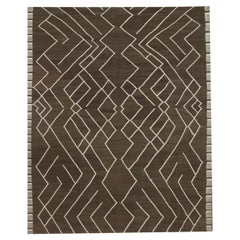 Brown Modern Kilim Rug Scandinavian Style Wool Rug, Geometric Carpet