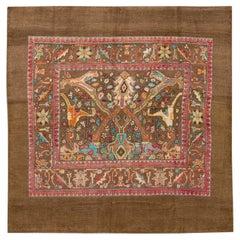 Apadana's Brown Modern Revival Square Handmade Wool Rug