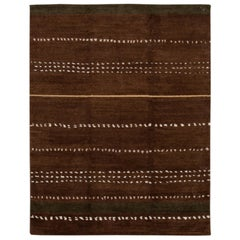 Brown Modern Tibetan Lama Wool Rug