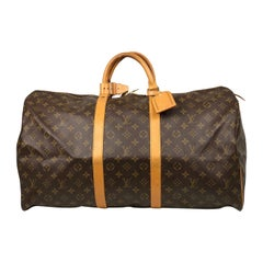 Brown Monogram Canvas Louis Vuitton Keepall 55 Weekend Bag