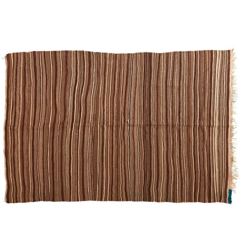 Brown Moroccan Wool Blanket For Sale