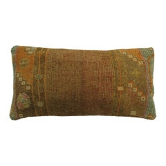 Brown Narrow Vintage Turkish Bolster Size Rug Pillow
