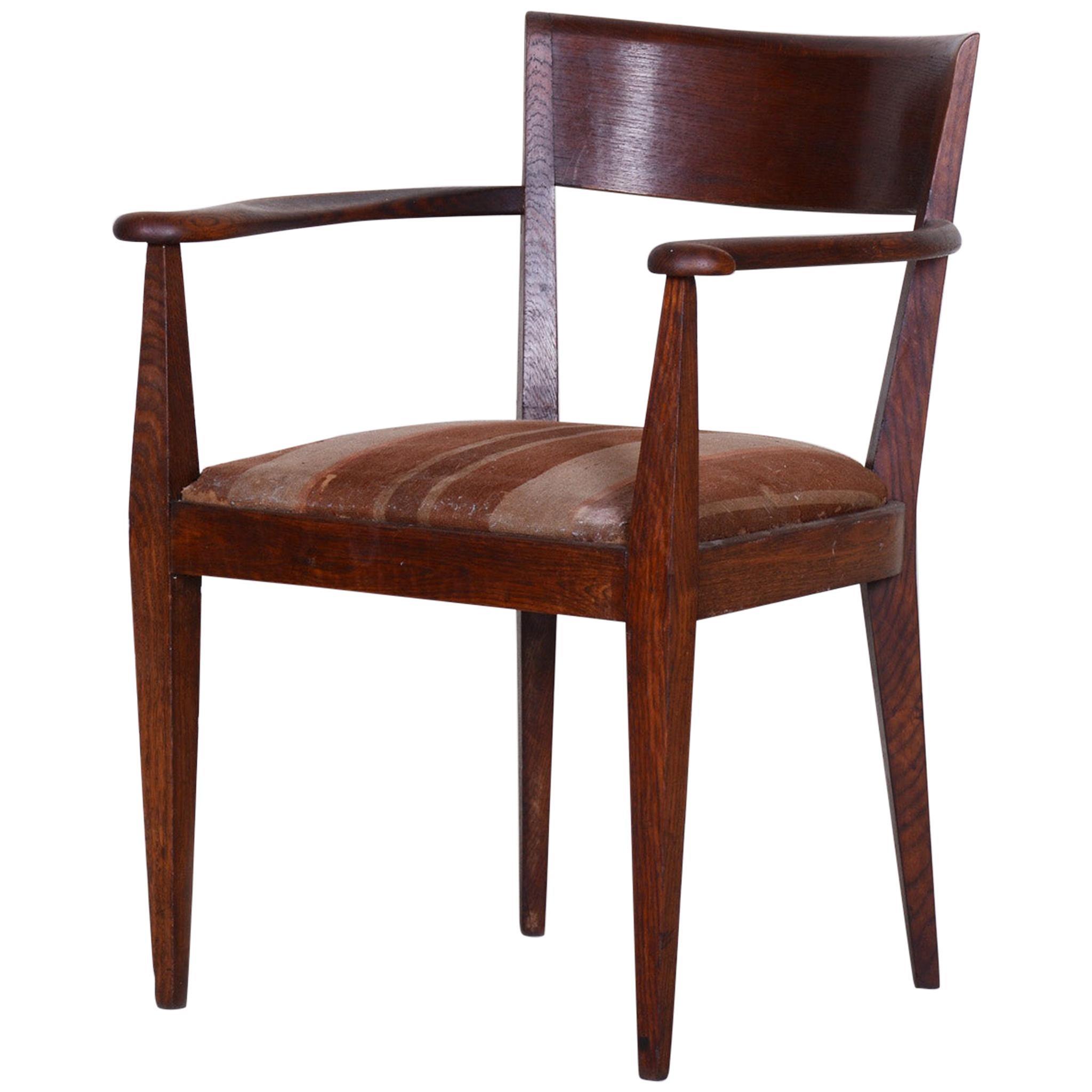 Brown Oak Cubist Art Deco Armchair, Original Well Preserved Condition, 1920s