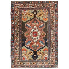 Brown, Olive and Terracotta Antique Persian Malayer Rug with Unique Design