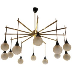 Brown Opaline Glass and Gilded Brass Midcentury Ceiling Lamp, Italy, 1960
