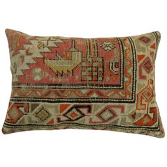 Brown Orange Vintage Turkish Wool Rug Pillow