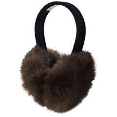Brown Oscar de la Renta Sable Fur Ear Muffs