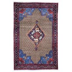 Brown Persian Camel Hair Serab Hunting Design Pure Wool Hand knotted Oriental Ru