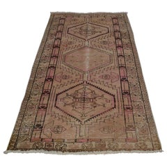 Brown Persian Serab Old and Worn Down Runner Hand Knotted Oriental Rug
