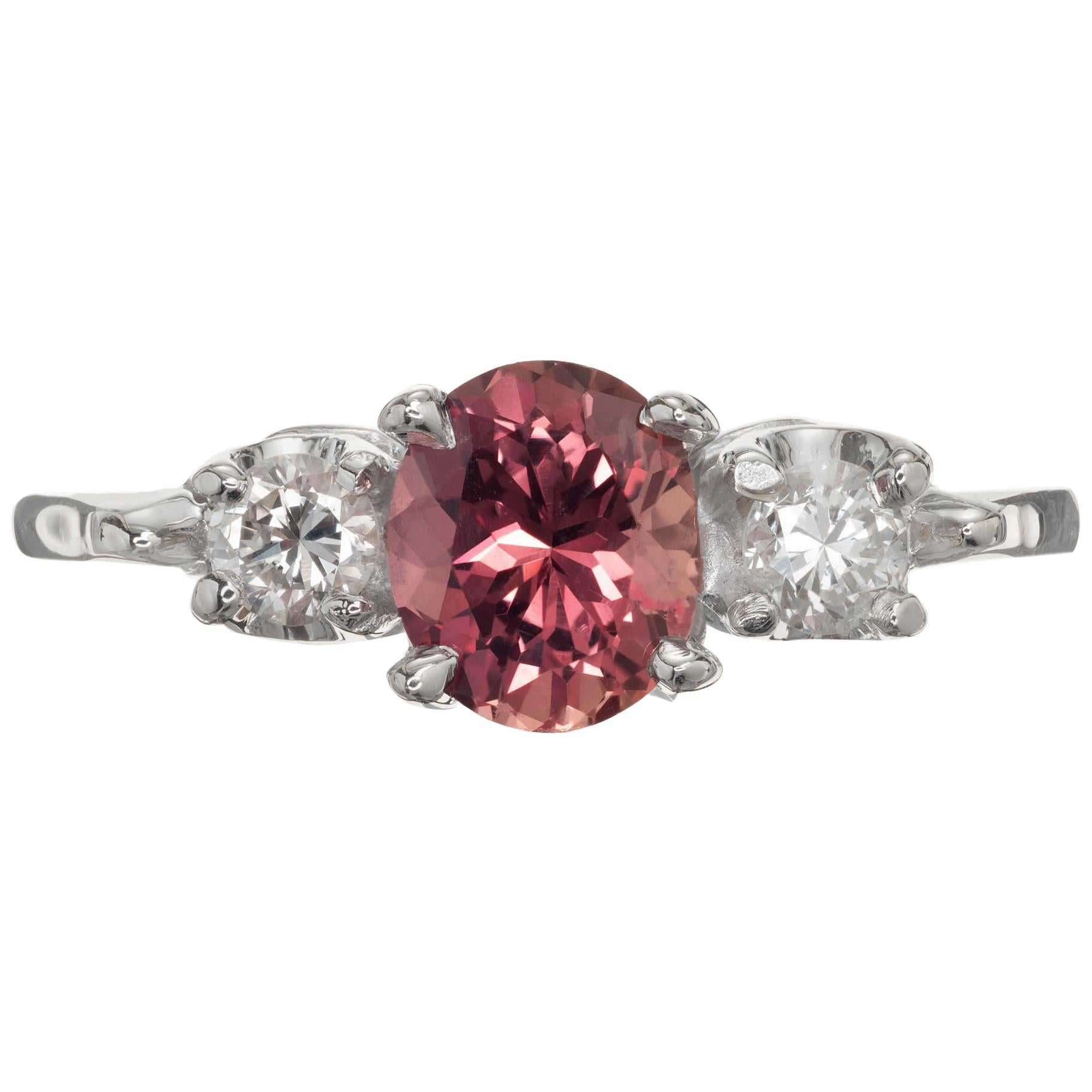 GIA .68 Carat Brown Pink Sapphire Diamond Three-Stone Gold Engagement Ring