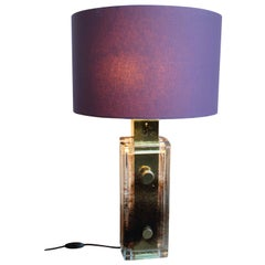 Brown/Purple Glass Table Lamp by Helena Tynell for Glashütte Limburg, End 1970