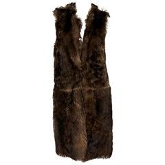 Brown Ralph Lauren Purple Label Shearling Vest