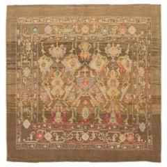 Brown Revival Square Handmade Wool Rug