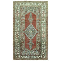 Brown Rust Hand-Made Antique Persian Malayer Oriental Throw Rug