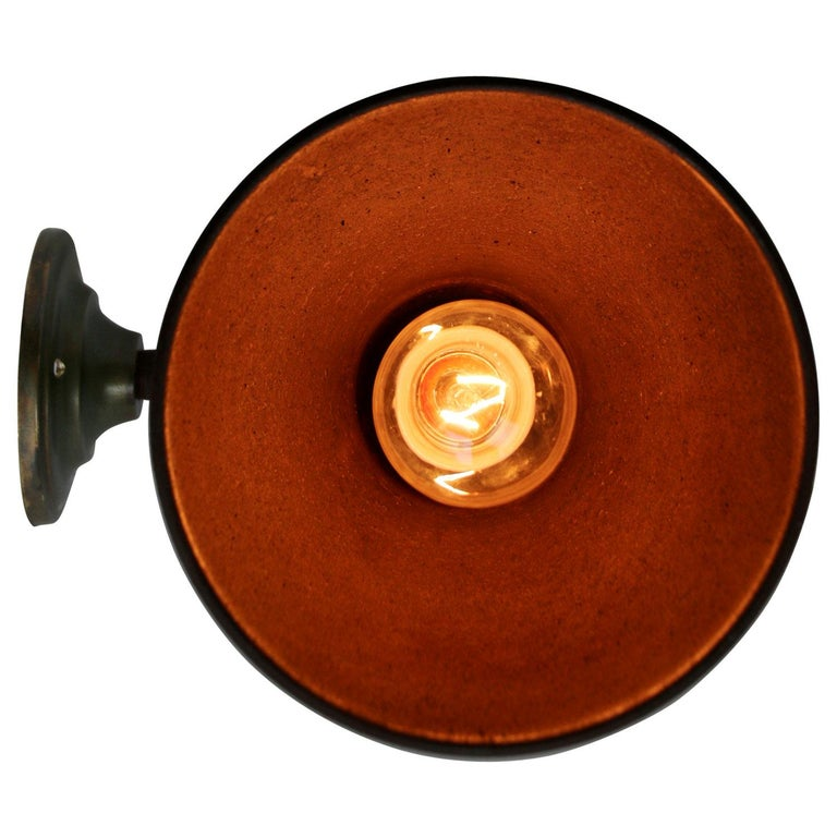 Cast Brown Rust Iron Vintage Industrial Scone Wall Light For Sale