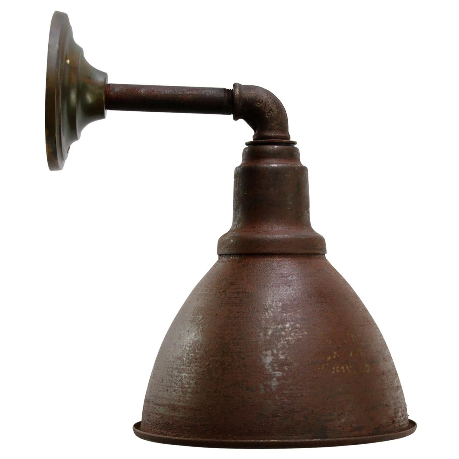Brown Rust Iron Vintage Industrial Scone Wall Light