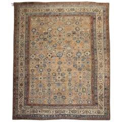 Brown Rustic Oversize Antique Persian Mahal Rug