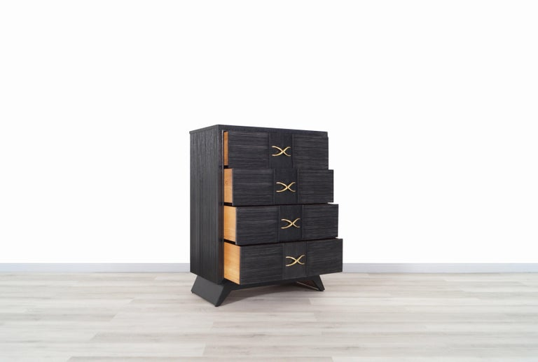 Mid-Century Modern Brown Saltman Cerused and Brass Chest of Drawers by Paul Frankl For Sale