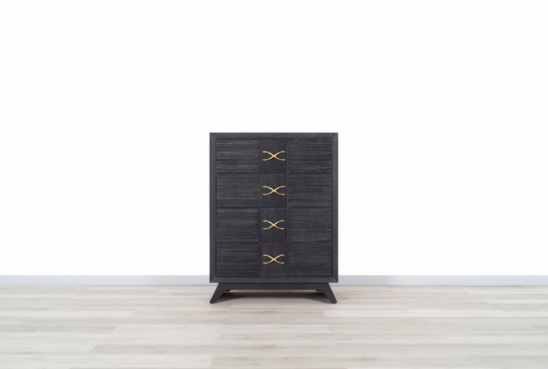 Mid-20th Century Vintage Cerused and Brass Chest of Drawers by Paul Frankl for Brown Saltman For Sale