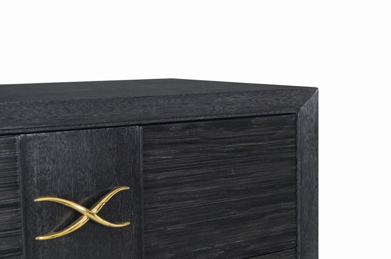 Brown Saltman Cerused and Brass Chest of Drawers by Paul Frankl For Sale 2